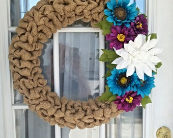 Burlap wreath with flowers