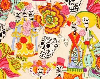 "Los Novios Day of the Dead by Alexander Henry by Half a Yard or 18"" by 43"""