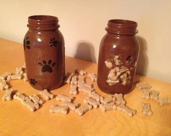 Dog treat mason jars