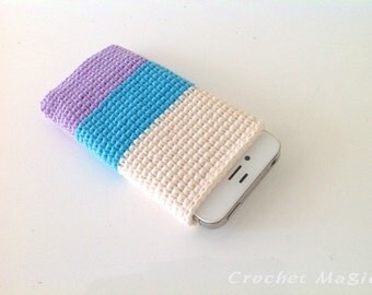 Purple Blue Crochet Iphone 5 Cover