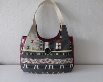 Multicolor printed canvas of ethnic spirit handbag