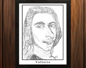 Voltaire - Sketch Print - 8.5x11 inches - Black and White - Pen - Caricature Poster
