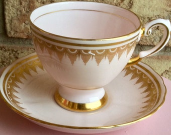 Pretty in Pink Tuscan Pedestal Teacup and Saucer
