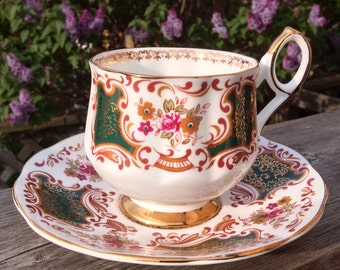 Pretty in Pink-and Green-Elizabethan Pedestal Teacup and Saucer