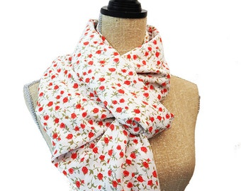 White Scarf, Red Scarf, Infinity Scarf, Floral Scarf, Summer Scarf, Light Scarf, Fashion Scarf