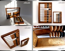 abacus, Couple: medium and small vintage wooden abacus, an ancient calculator. 1920-30 s, husband gift,  collection, antique, patina, loft