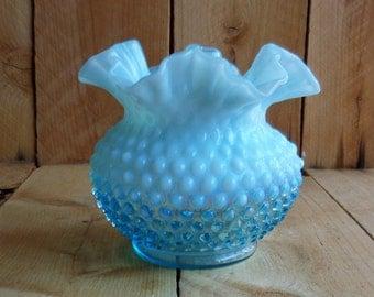 Fenton Hobnail Vase Blue