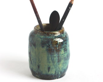 Pen Pot/ Pen Holder / Ceramic Pottery Pencil Holder/ Office Organizer/ Brushes Holder/ Desk Pen Holder