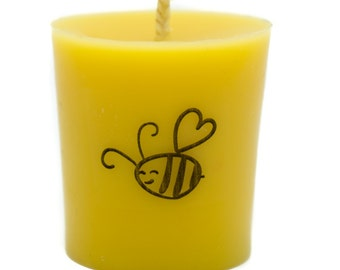 Pure 100% Beeswax Votive Candles - Decorated. FREE SHIPPING