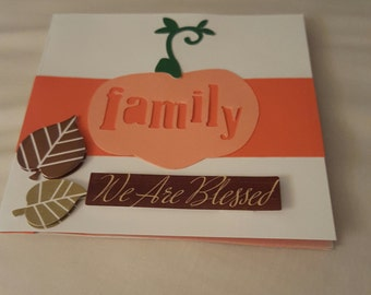 Thanksgiving Card, Greeting Card, Card, Thanksgiving, Card with Pumpkin, FREE SHIPPING,Holiday Card, Give Thanks, Handmade Card