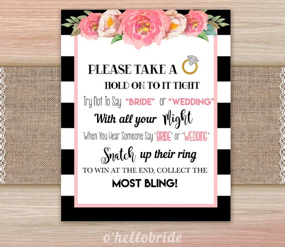 Don't Say Bride Or Wedding Black And White Pink Floral