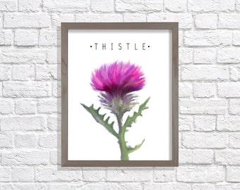 Thistle Print, Printable Art, digital art, digital painting, Modern Art, Wall Decor, Digital Download, floral print, flower, Thistle, purple