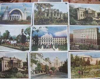 """Vintage Soviet post cards """"Kiev"""" 10 pieces 1957s"""