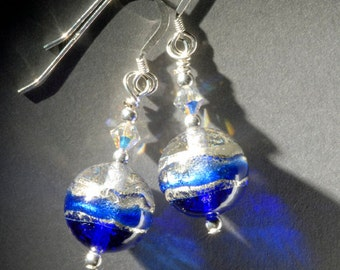 Cobalt blue Murano glass earrings