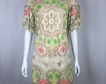 Vtg 60s woven lace spray painted floral sheath dress