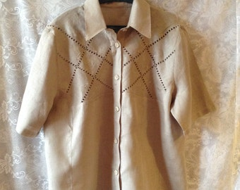 Linen Blouse With Broderie Anglaise.