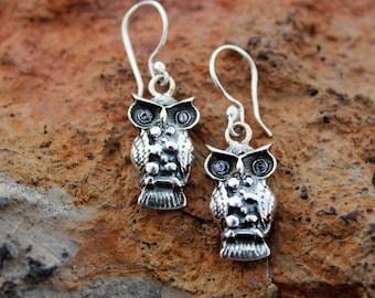 Owl Silver Earrings - Silver Jewelry - Peruvian - Owl Jewelry - Sterling Silver Earrings