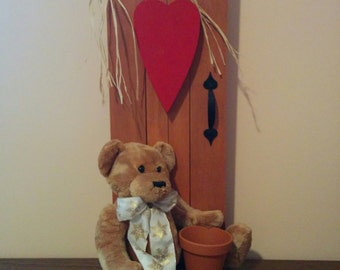 Hand Crafted Teddy and Garden Gate Decor