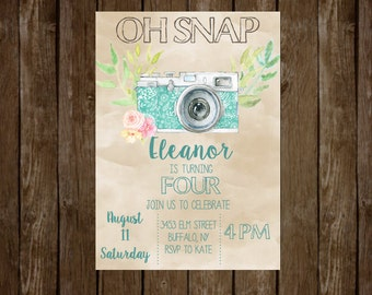 Oh Snap Birthday Invitation Camera