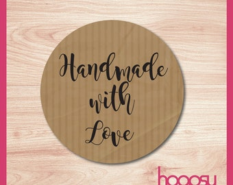 Handmade kraft sticker with love stickers, labels, business stickers