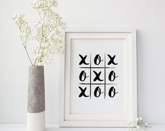 Wall decor, Word art prints, Gift for friend 'Love Life Noughts and Crosses', Fast shipping to USA & UK
