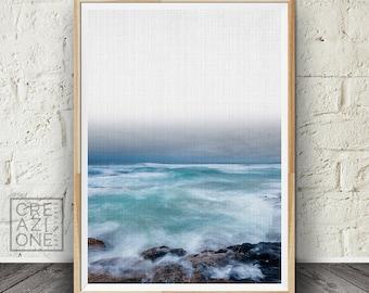Sea rocks print, Printable sea art, Ocean wall decor, Coastal print, Nature photography, Summer wall art, Blue #062