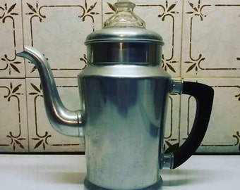 French vintage coffee maker in aluminium. 50's