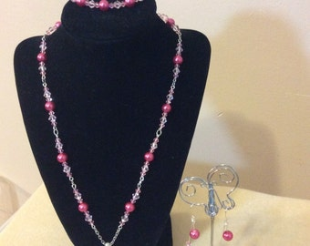 Pink Necklace, Bracelet and Earrings