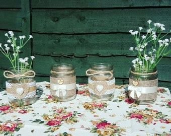 Rustic Centrepiece candle holders/vases/ weddings/ parties- set of six