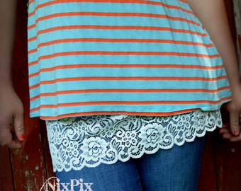 Shirt Extender White Lace