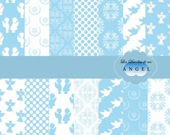 Celestial digital paper kit for christening / Kit blue digital papers for christening