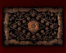 Vintage Black Velvet Clutch Authentic Zardozi Gold Metallic Embroidery 30-40s India Evening Bag Purse