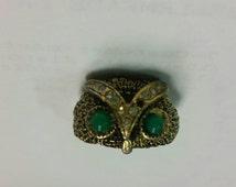 Vintage owl ring adjustable Gold tone Statement 60s