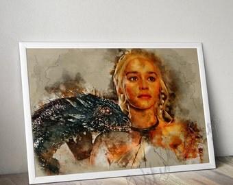Daenerys Mother of Dragons Watercolor Art Poster, Game of Thrones Art Watercolor Painting, House Targaryen, Khaleesi print Brother bday gift