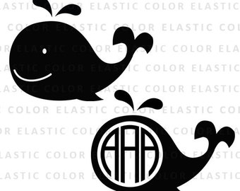 Whale svg - whale clip art - whale monogram file - whale digital download design svg, eps, dxf, png