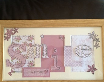 Handmade paper pieced Smile picure in frame