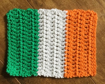 Irish Flag Hot Pad, Trivet, 100% Cotton, Handmade, Crochet