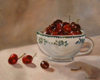 A bowl of cherries - Still Life - Original oil painting by Anne Zamo