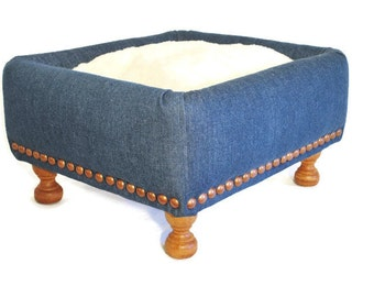 Cat furniture, cat bed, cat house, cat cave, small dog bed, Pet bed, gift for her, Blue Jean cat bed, unique gift, one of a kind, cat gift