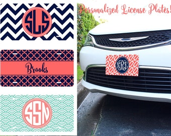 Personalized License Plates - 15 Designs Monogrammed Custom Personalized Inspired Art Car Tag  Gift for Her Decor Best Seller Top Selling
