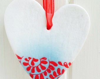 Porcelain Heart Hanging Decoration, Red and Turquoise Design