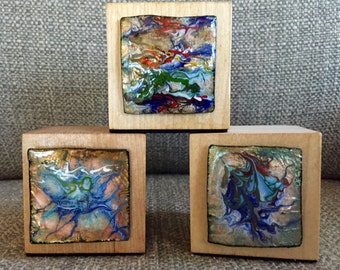 3 Part Harmony -- Copper enameled abstracts on blocks