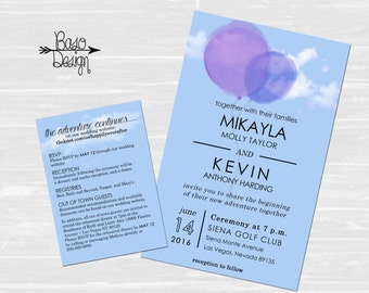 Disney Up Wedding Announcement & RSVP | Balloon Invitation| Clouds | Custom