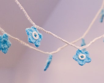 Turquoise Crochet Flower Bunting Garland