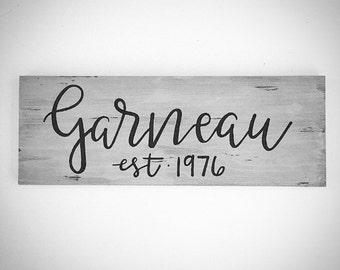 Custom Wood Family Sign - Custom Last Name Sign - Custom Family Established Sign - 20x7.5 Handlettered Wedding / Marriage / Anniversary Sign