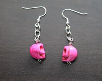 Hot Pink Skully Earrings