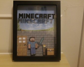 Personalized Minecraft Inspired Shadowbox