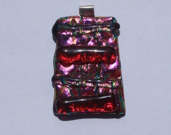 rippled fuschia red pink dichroic glass pendant