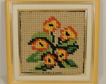 Finished Needlepoint of Bright Yellow and Orange Flowers Yellow Frame