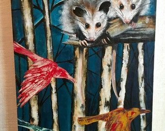 Friends in the Forest, original painting, acrylic on birchwood